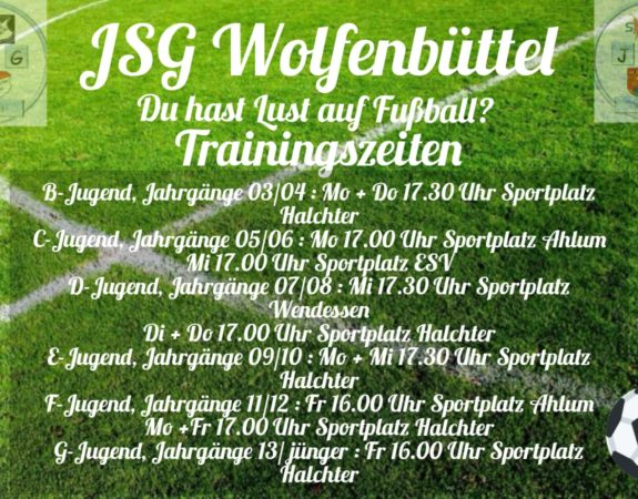 Aktuelle Trainingszeiten der JSG